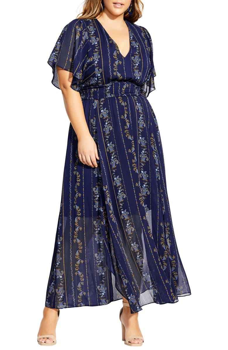 CITY CHIC Paisley Play Maxi Dress, Main, color, 406