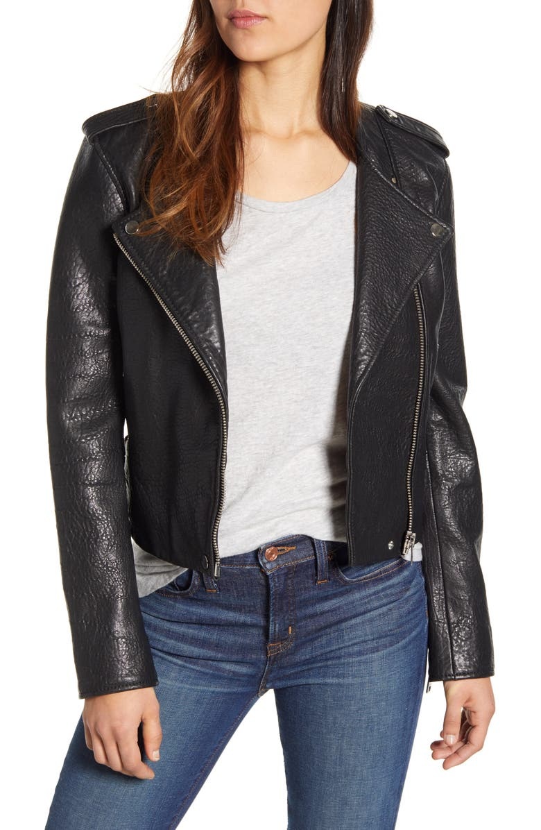 LUCKY BRAND Pebble Leather Moto Jacket, Main, color, 001