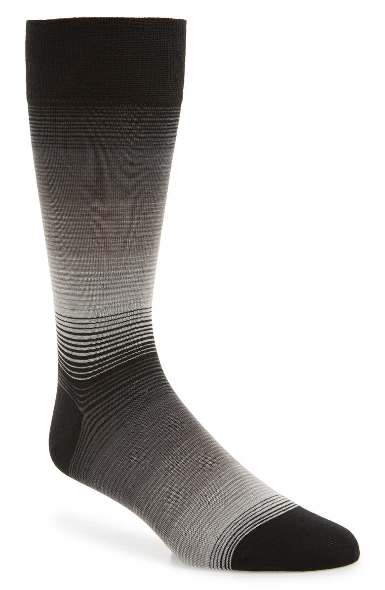 COLE HAAN Gradient Stripe Socks, Main, color, BLACK