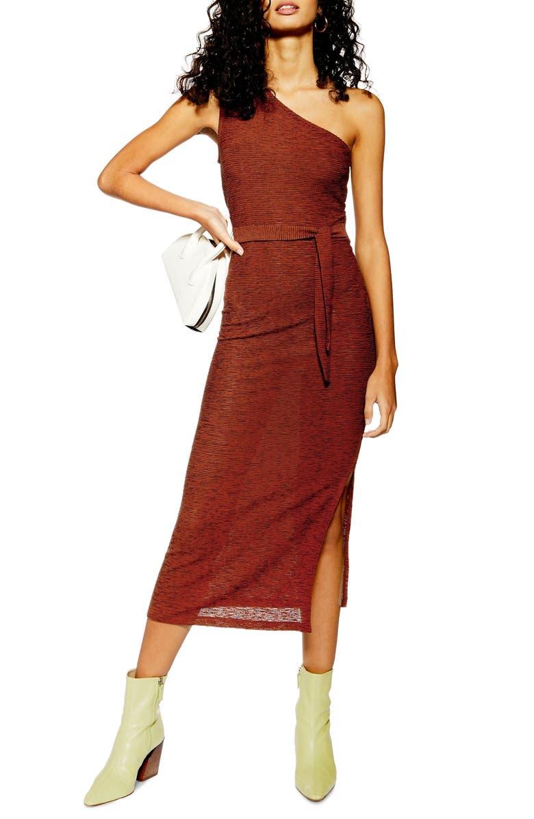 TOPSHOP Texture Stripe One Shoulder Midi Dress, Main, color, RUST