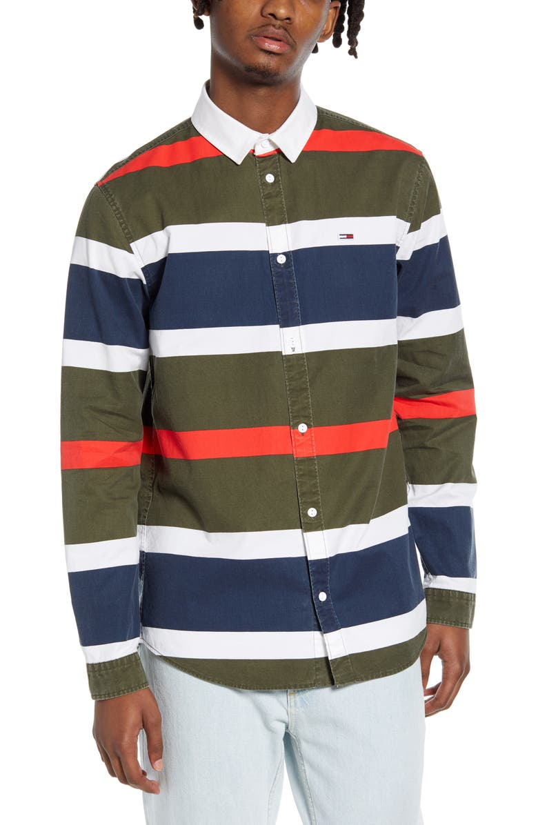 TOMMY JEANS TJM Retro Stripe Button-Up Shirt, Main, color, OLIVE NIGHT / MULTI