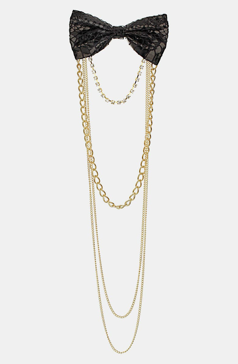 TOPSHOP Bow Chain Brooch, Main, color, 001