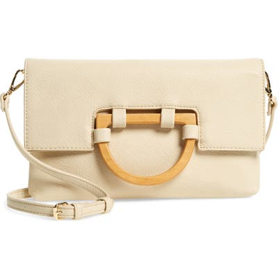 Sole Society Ardel Faux Leather Clutch - Ivory