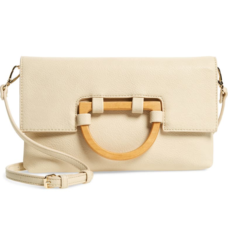 SOLE SOCIETY Ardel Faux Leather Clutch, Main, color, CREAM