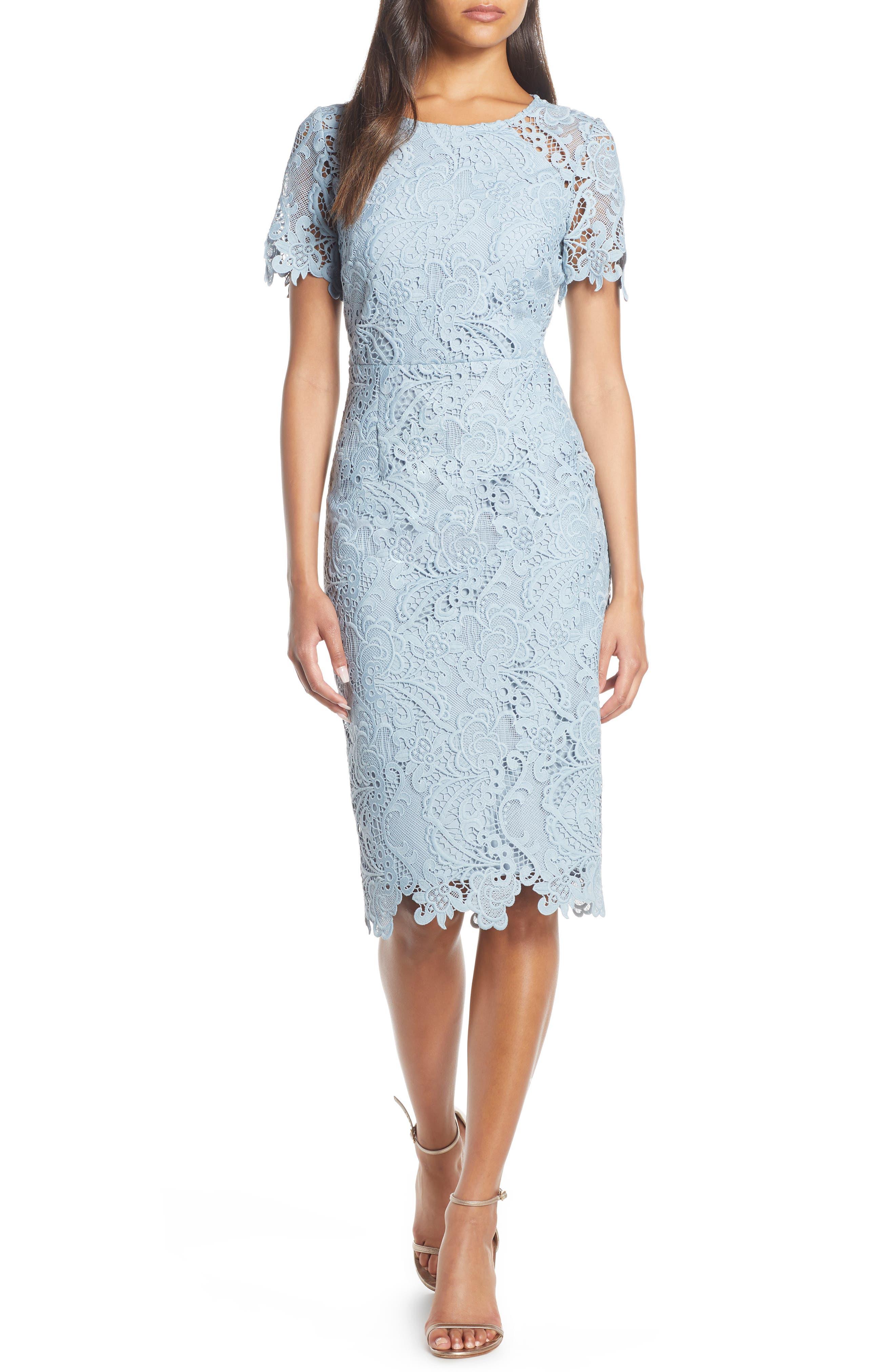 Eliza J Cap Sleeve Jewel Neck Sheath Dress, Blue
