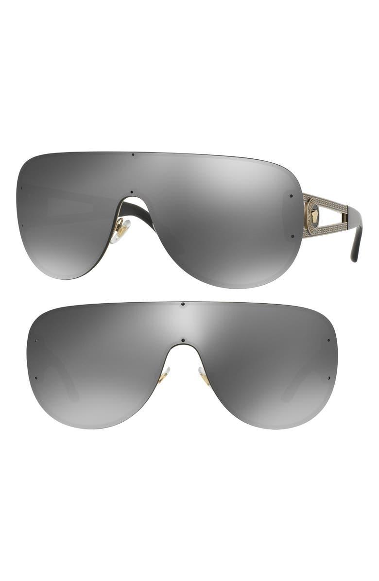 VERSACE Shield Sunglasses, Main, color, 040