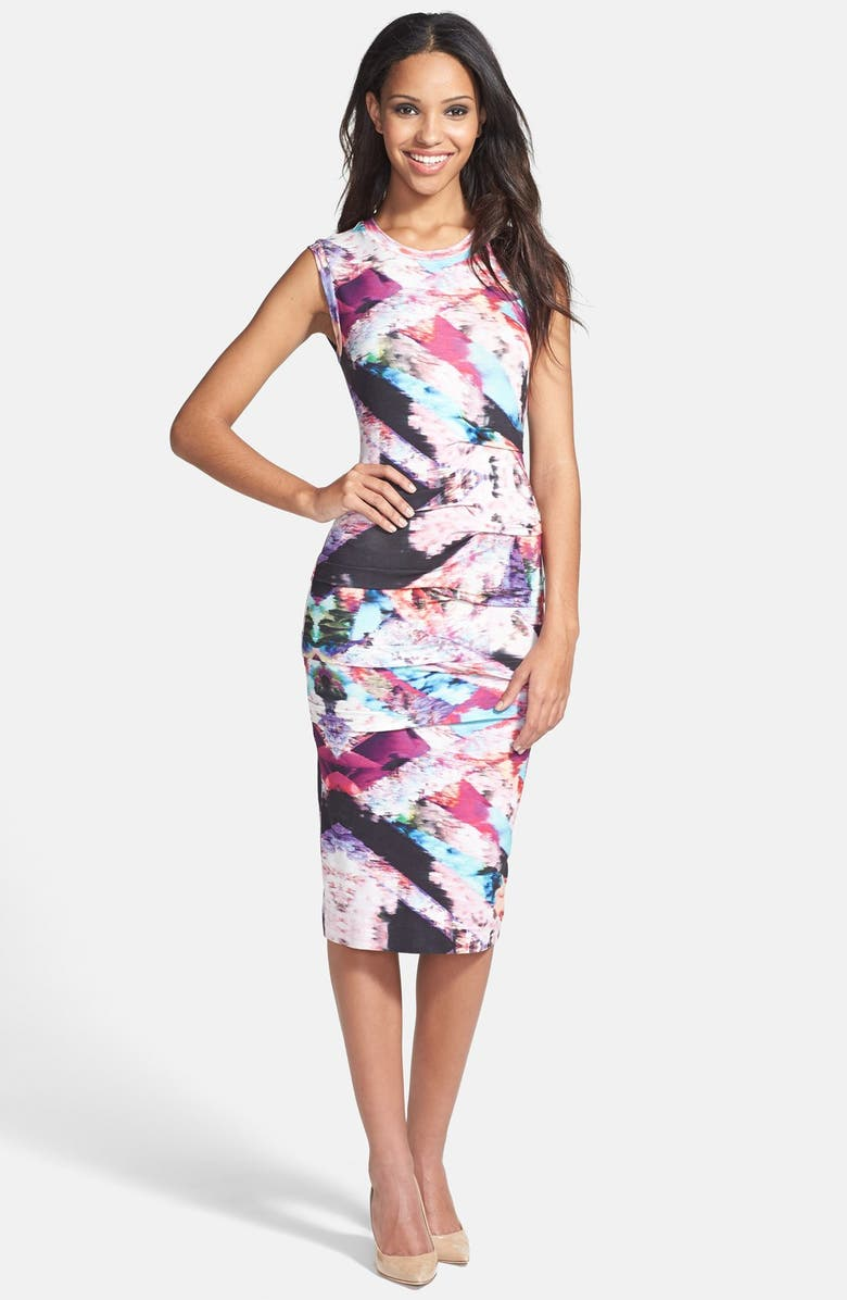 NICOLE MILLER Tidal Pleat Print Jersey Pencil Dress, Main, color, 960