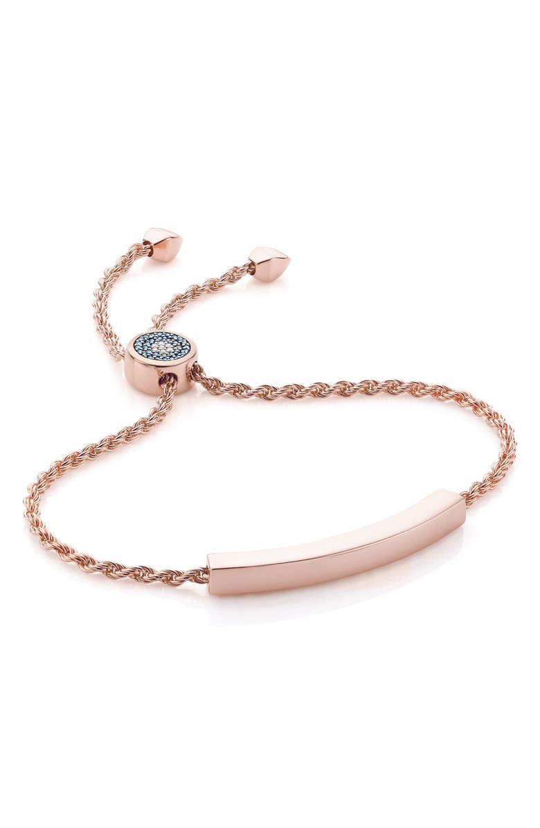 MONICA VINADER Engravable Linear Evil Eye Diamond Bracelet, Main, color, ROSE GOLD