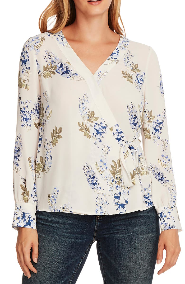 VINCE CAMUTO Weeping Willows Wrap Blouse, Main, color, 148