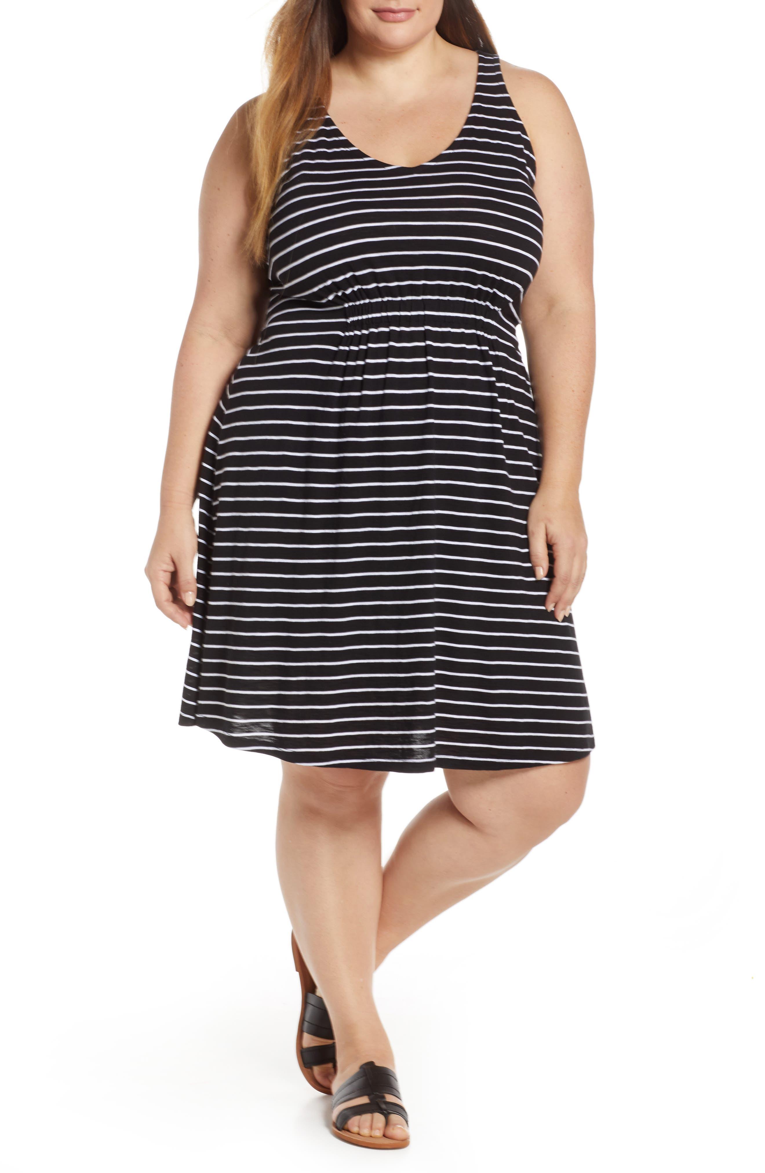 Plus Size Caslon Sleeveless V-Neck Knit Dress, Black