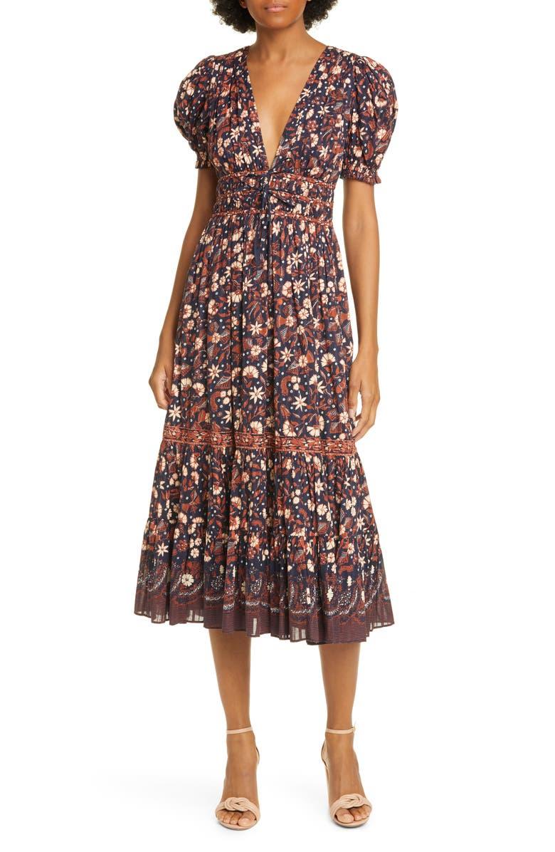 ULLA JOHNSON Zaria Floral Midi Dress, Main, color, MIDNIGHT