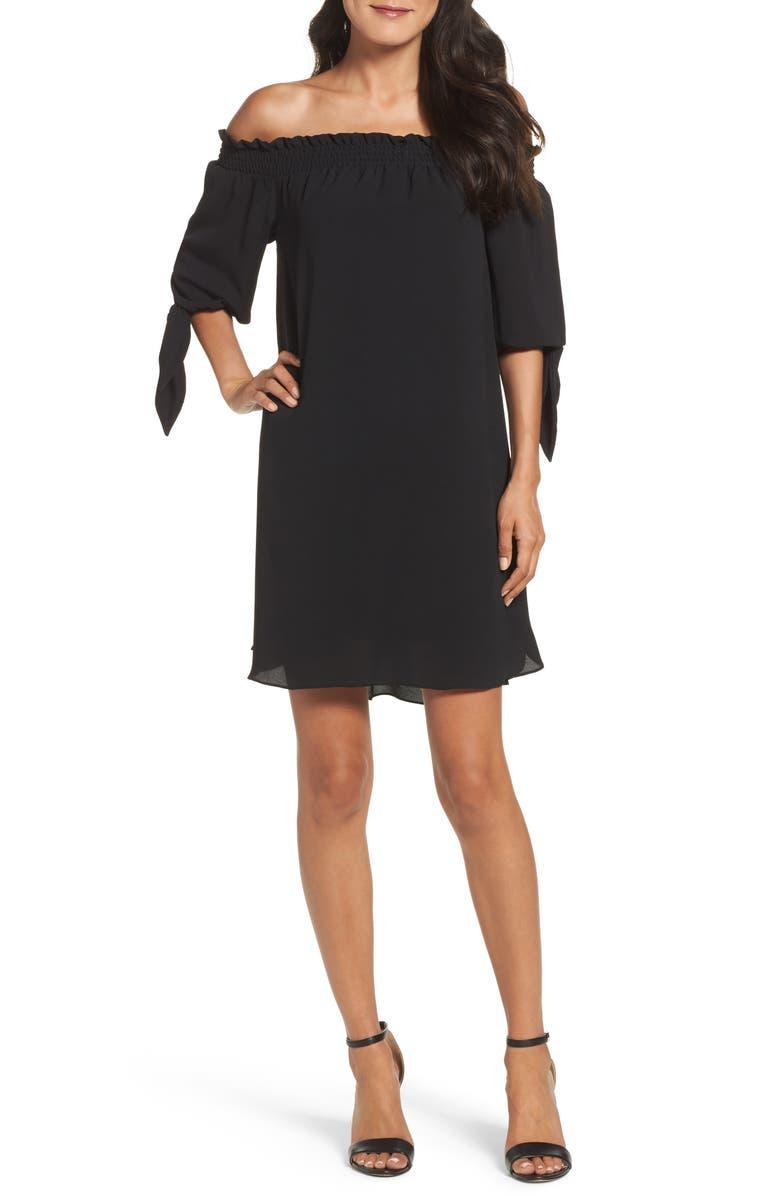 VINCE CAMUTO Stretch Crepe Shift Dress, Main, color, 001