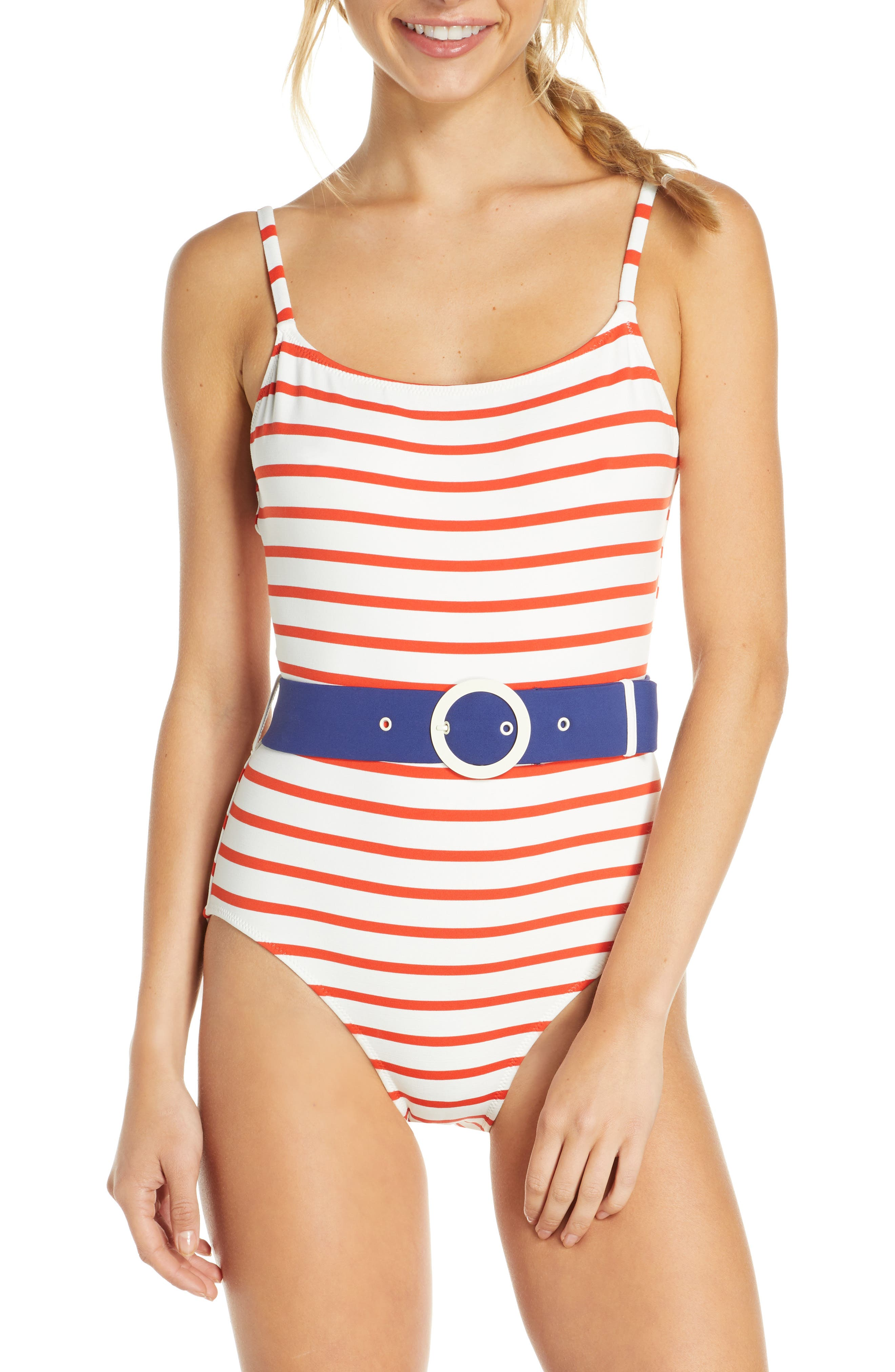 Solid & Striped The Nina Belted One-Piece Swimsuit, Red