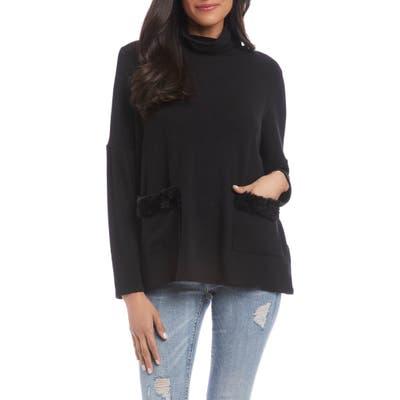 Karen Kane Faux Fur Trim Turtleneck Sweater, Black