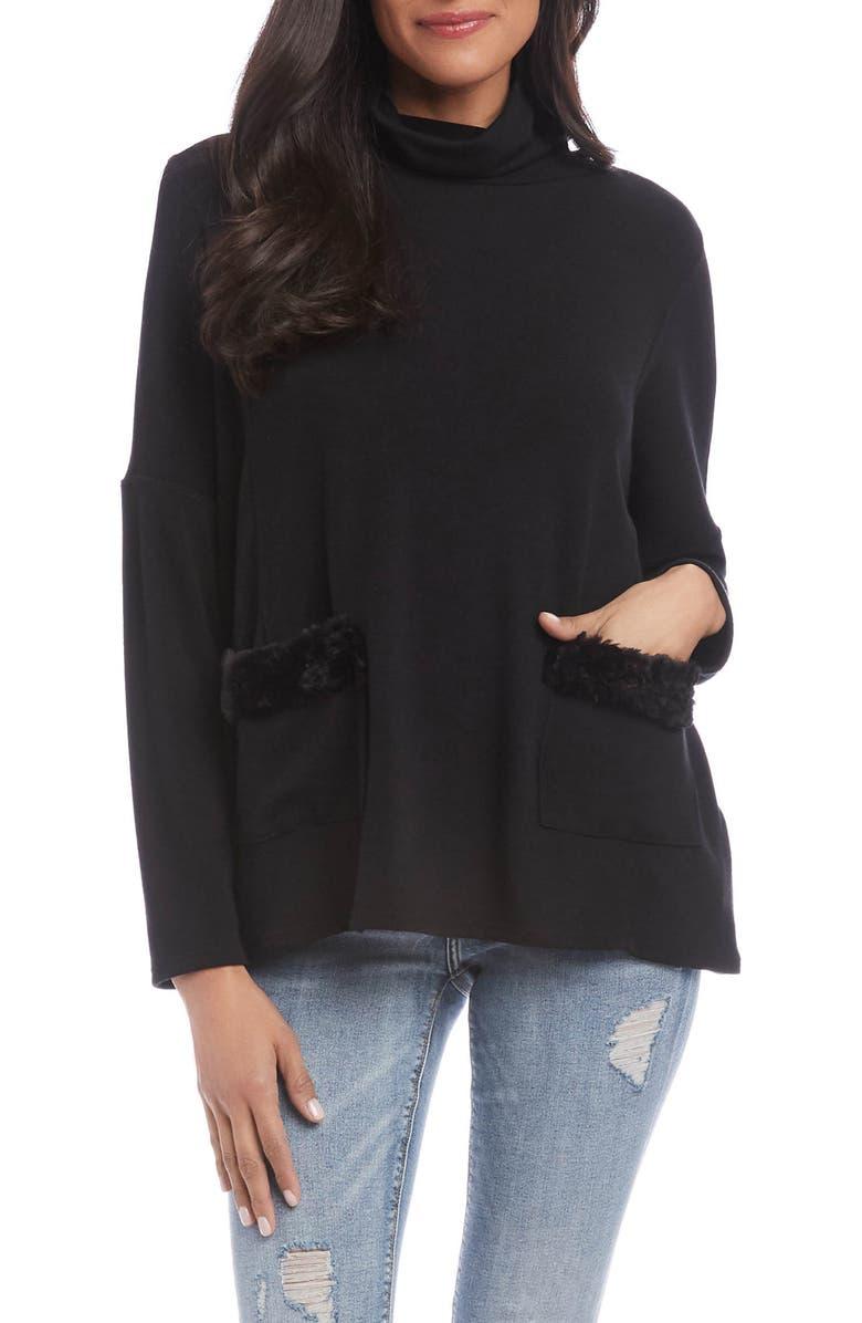 KAREN KANE Faux Fur Trim Turtleneck Sweater, Main, color, BLACK