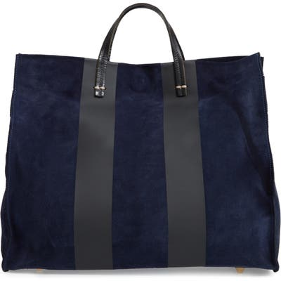 Clare V. Simple Stripe Leather Tote - Blue