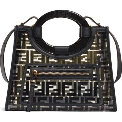 Fendi Small Runway Logo Transparent Shopper - Black
