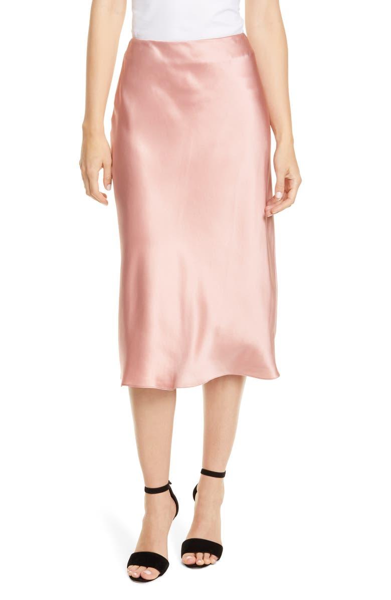 CINQ À SEPT Marta Silk Satin Midi Skirt, Main, color, PEONY PINK