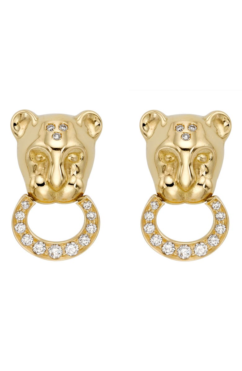 TEMPLE ST. CLAIR Lion Cub Diamond Stud Earrings, Main, color, YELLOW GOLD
