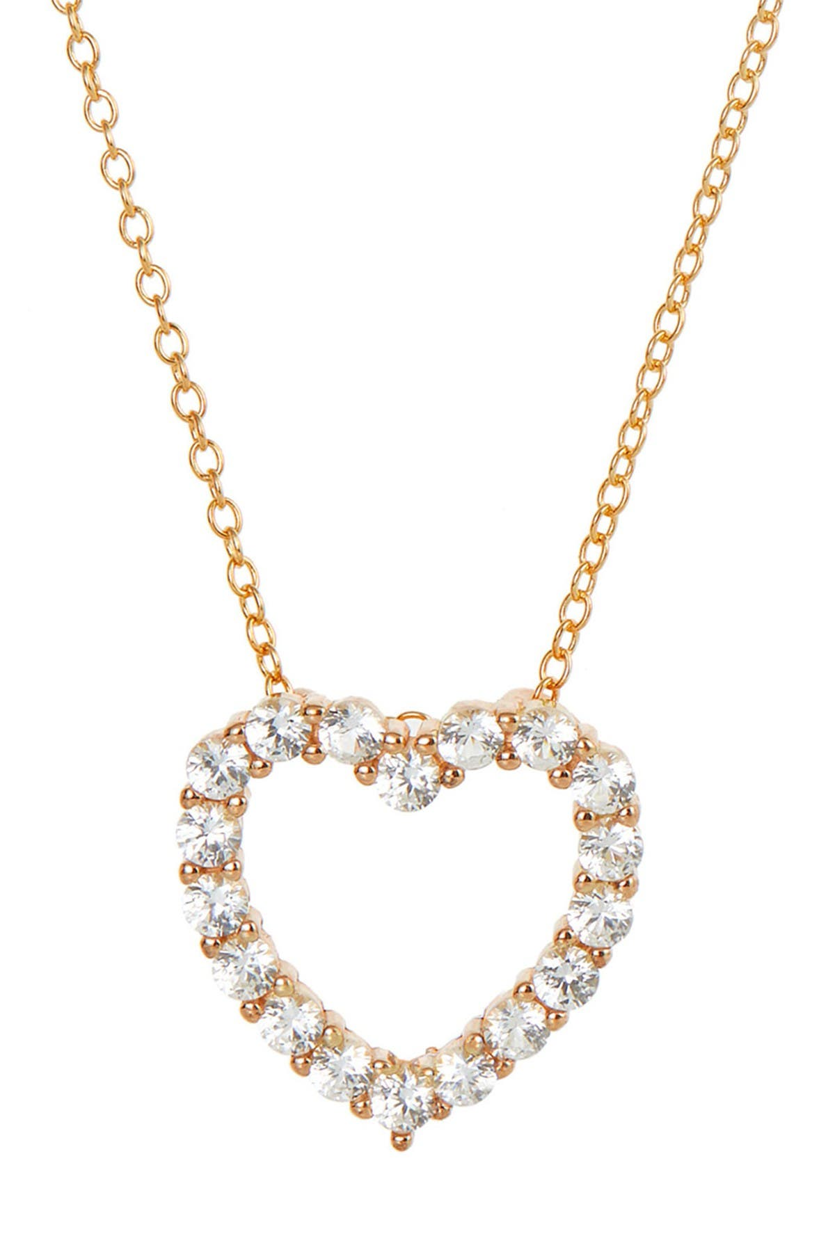 Image of Savvy Cie 18K Rose Gold Vermeil Sterling Silver Created Sapphire Heart Pendant Necklace