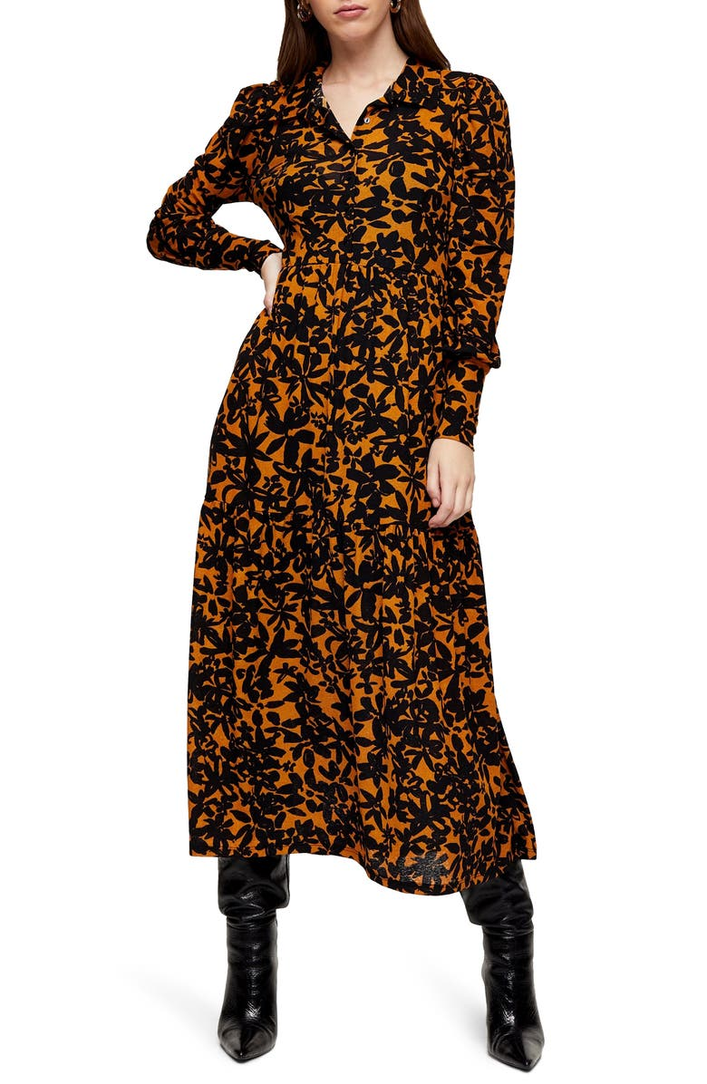TOPSHOP Floral Print Long Sleeve Maxi Shirtdress, Main, color, BLACK MULTI