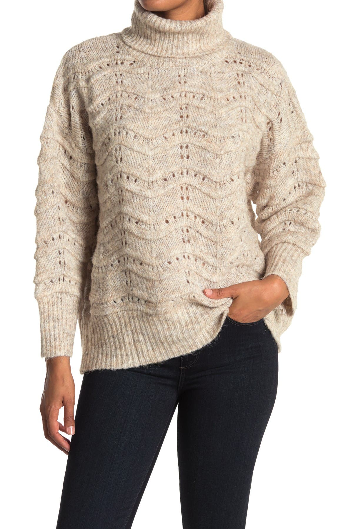 Image of FRNCH Cable Knit Turtleneck Sweater