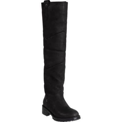 Ross & Snow Elena Weatherproof Genuine Shearling Lined Knee High Boot, Black