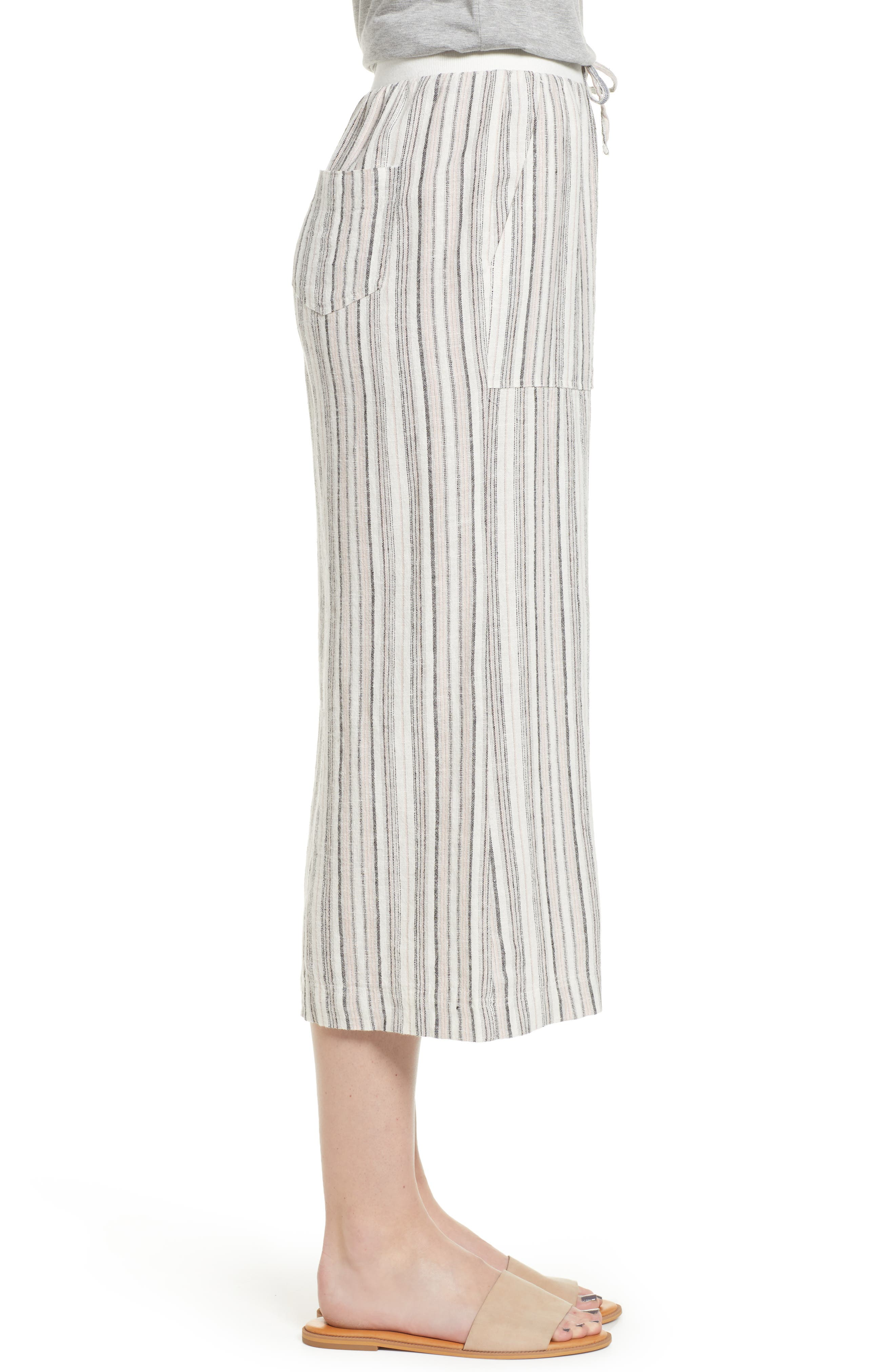 ,                             Stripe Crop Linen Blend Pants,                             Alternate thumbnail 18, color,                             680