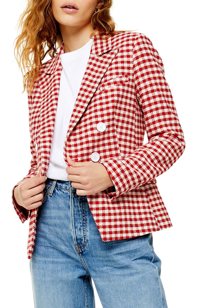 TOPSHOP Check Double Breasted Blazer, Main, color, 600