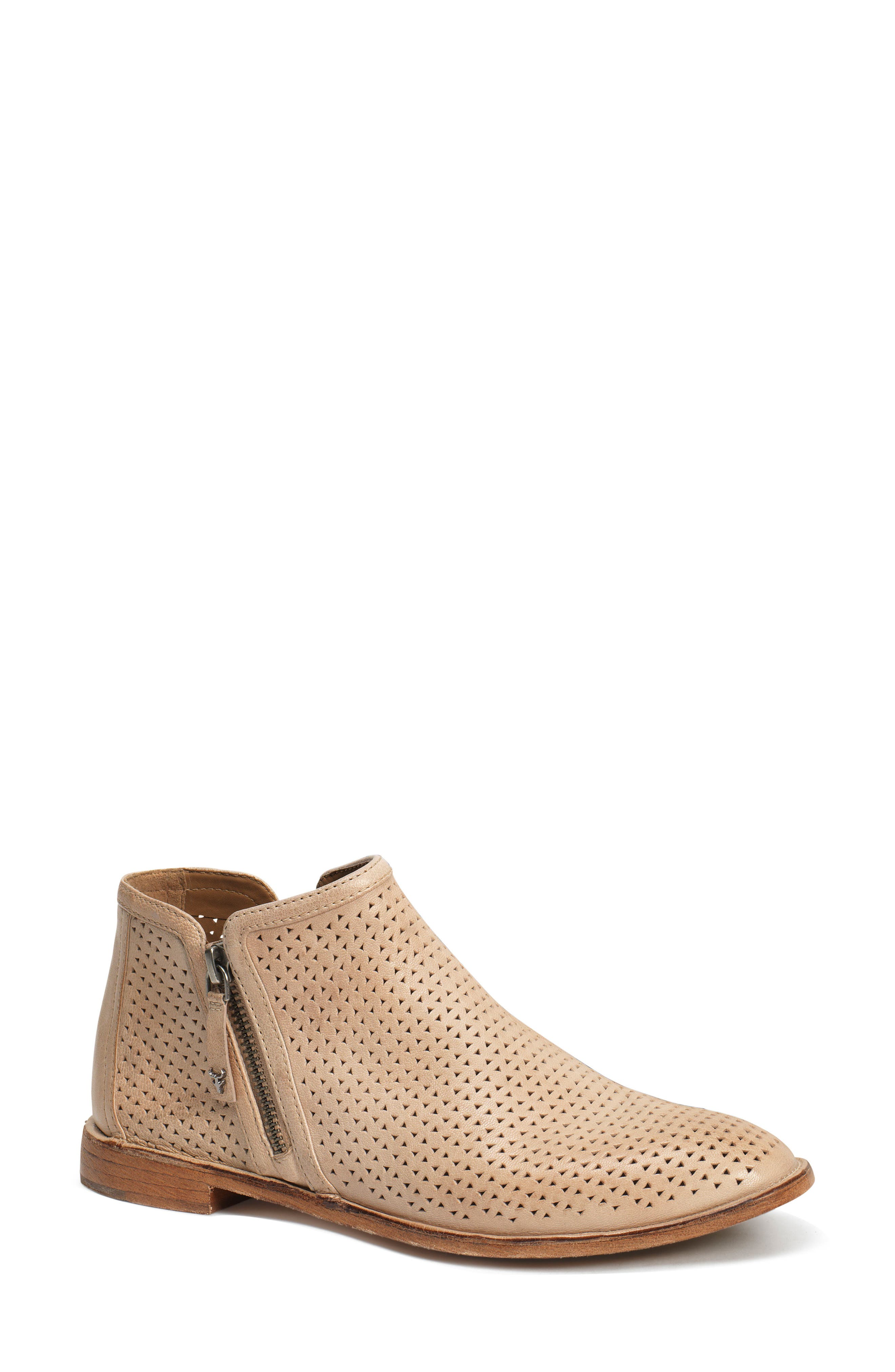 Trask Addison Low Perforated Bootie, White