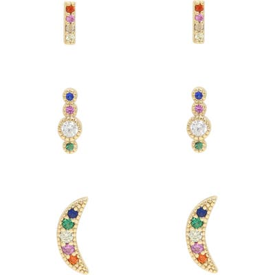 Ettika Rainbow 3-Pair Set Of Crystal Stud Earrings