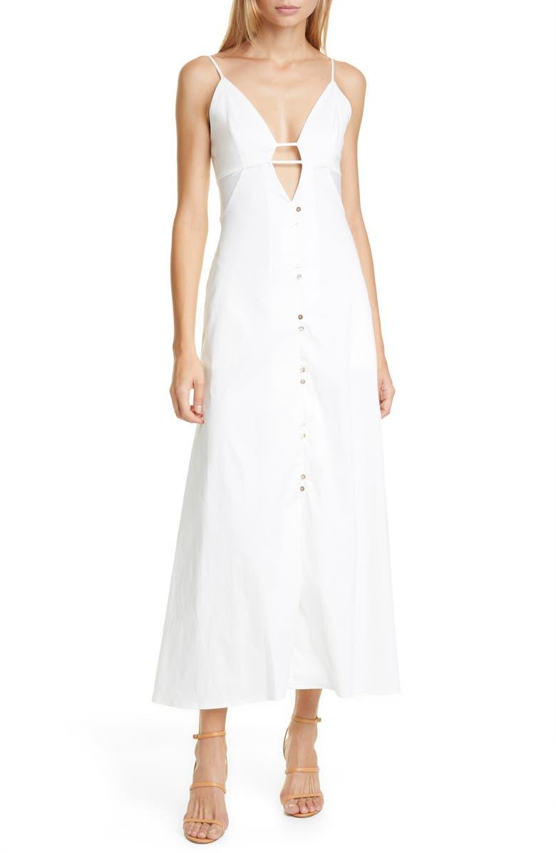 CULT GAIA Myrium Midi Dress, Main, color, OFF WHITE