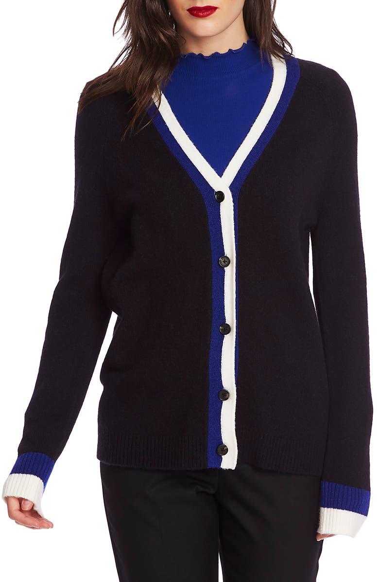 COURT & ROWE Stripe Trim Cardigan, Main, color, RICH BLACK
