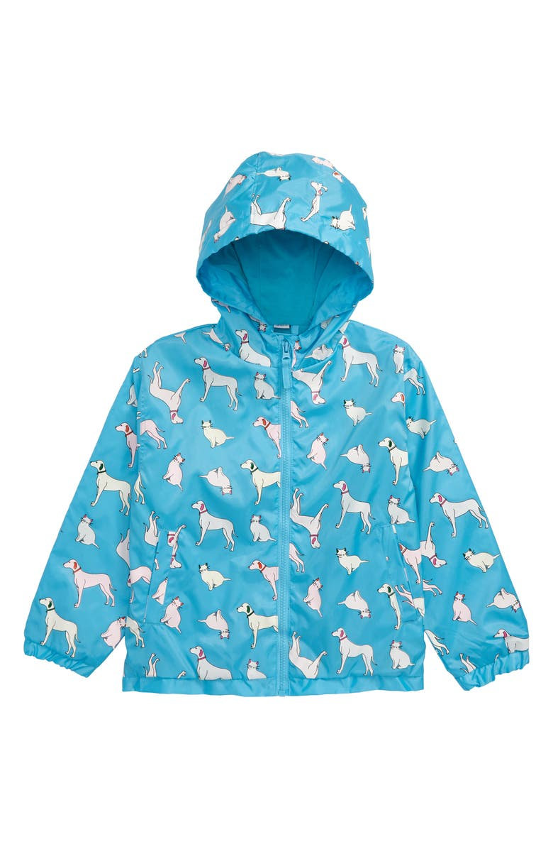 HOLLY AND BEAU Color Change Raincoat, Main, color, BLUE/ DOGS