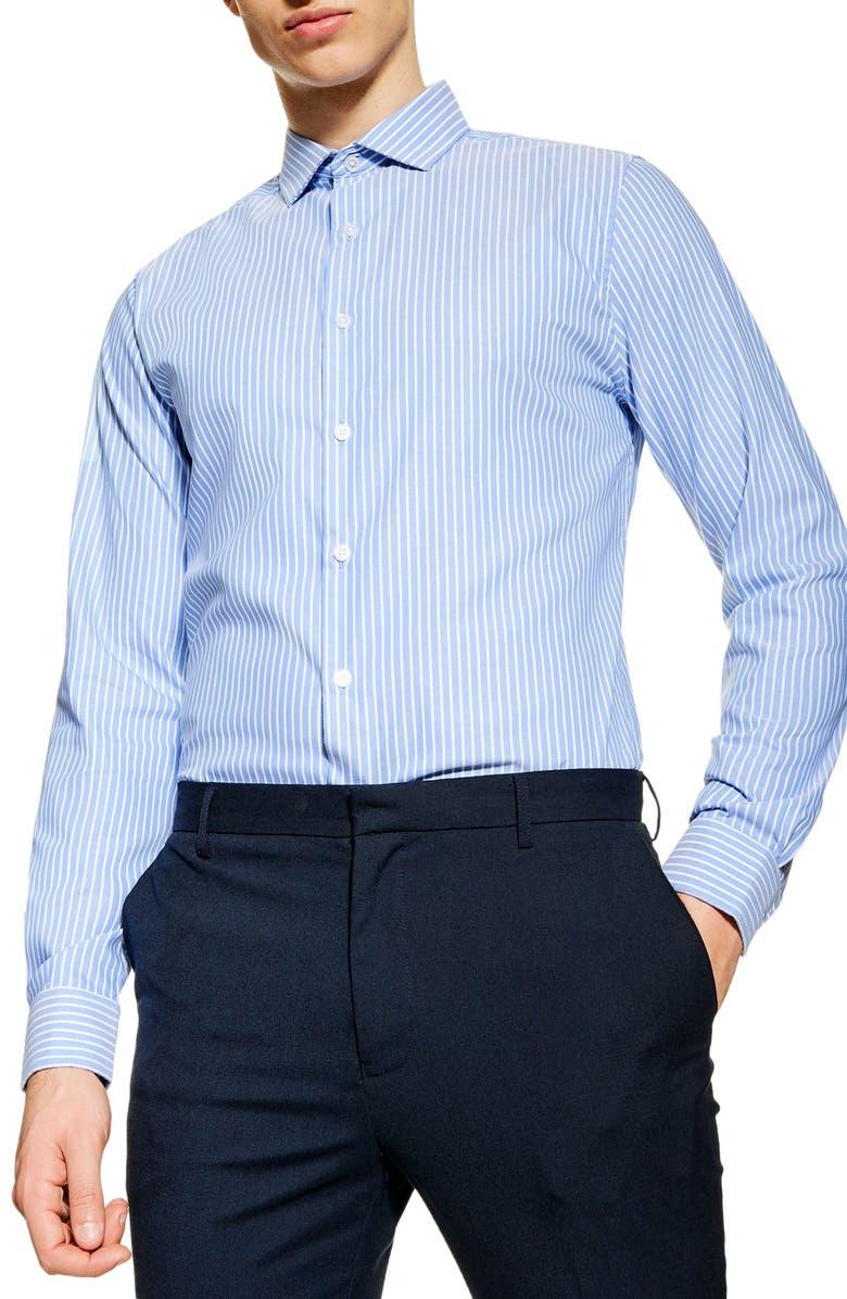 TOPMAN Premium Slim Fit Stripe Shirt, Main, color, 400