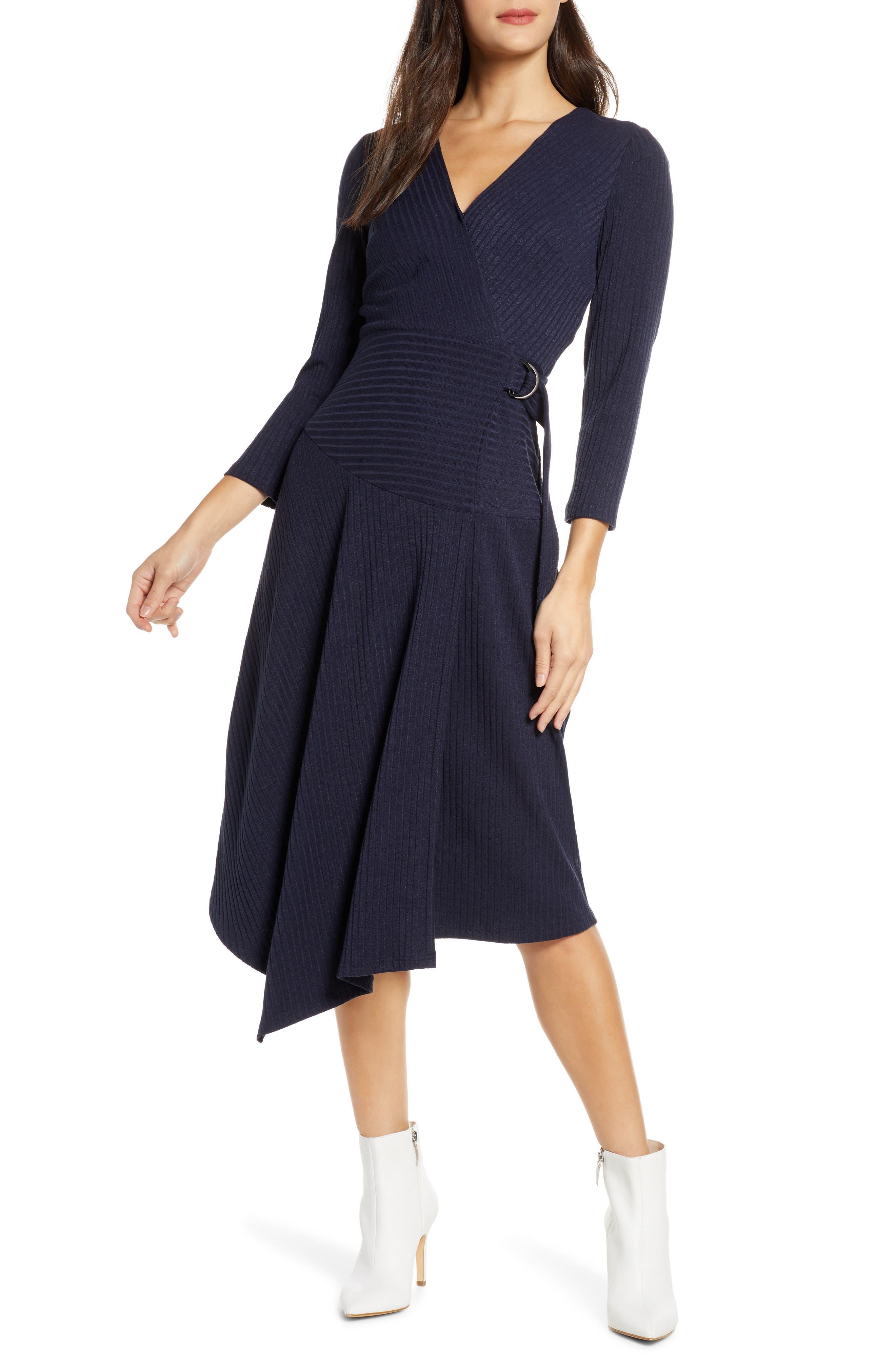 Image of Sam Edelman V-Neck Asymmetrical Faux Wrap Sweater Dress