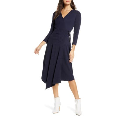 Sam Edelman V-Neck Long Sleeve Asymmetrical Faux Wrap Dress, Blue