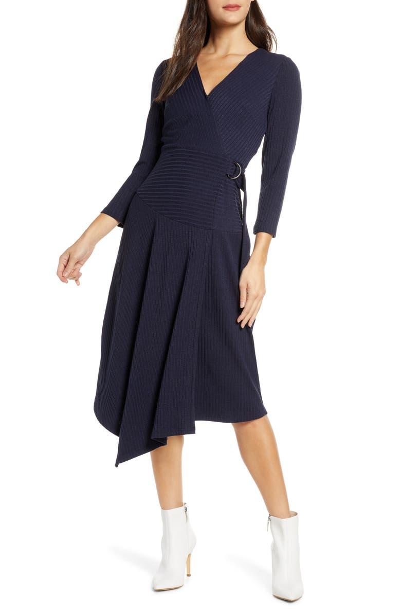 SAM EDELMAN V-Neck Long Sleeve Asymmetrical Faux Wrap Dress, Main, color, NAVY