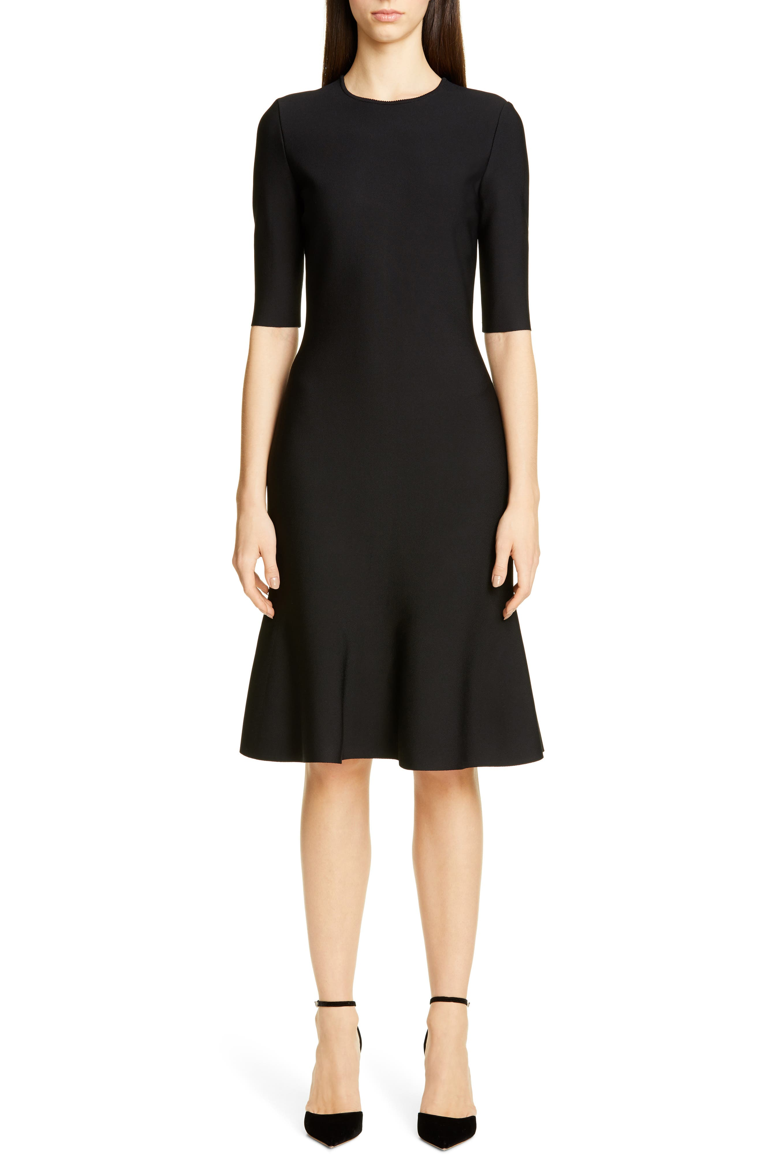 St. John Collection Luxe Sculpture Elbow Sleeve Dress, (similar to 1) - Black