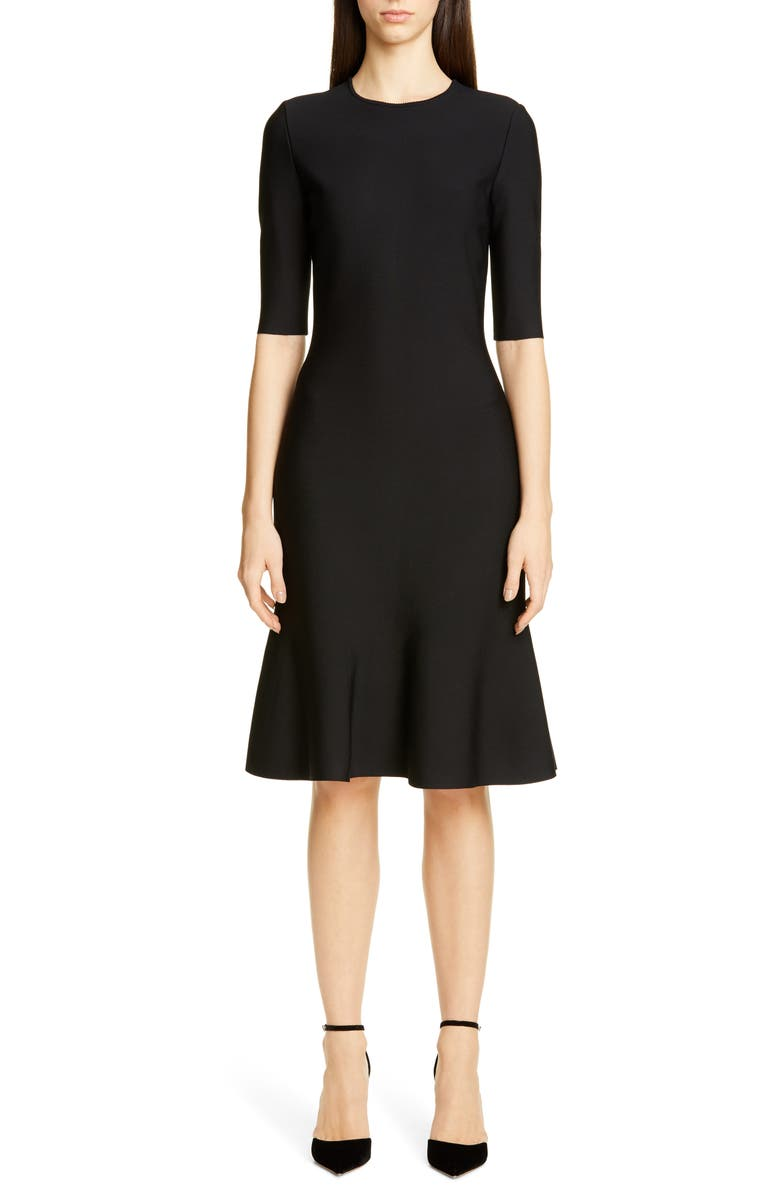 ST. JOHN COLLECTION Luxe Sculpture Elbow Sleeve Dress, Main, color, CAVIAR