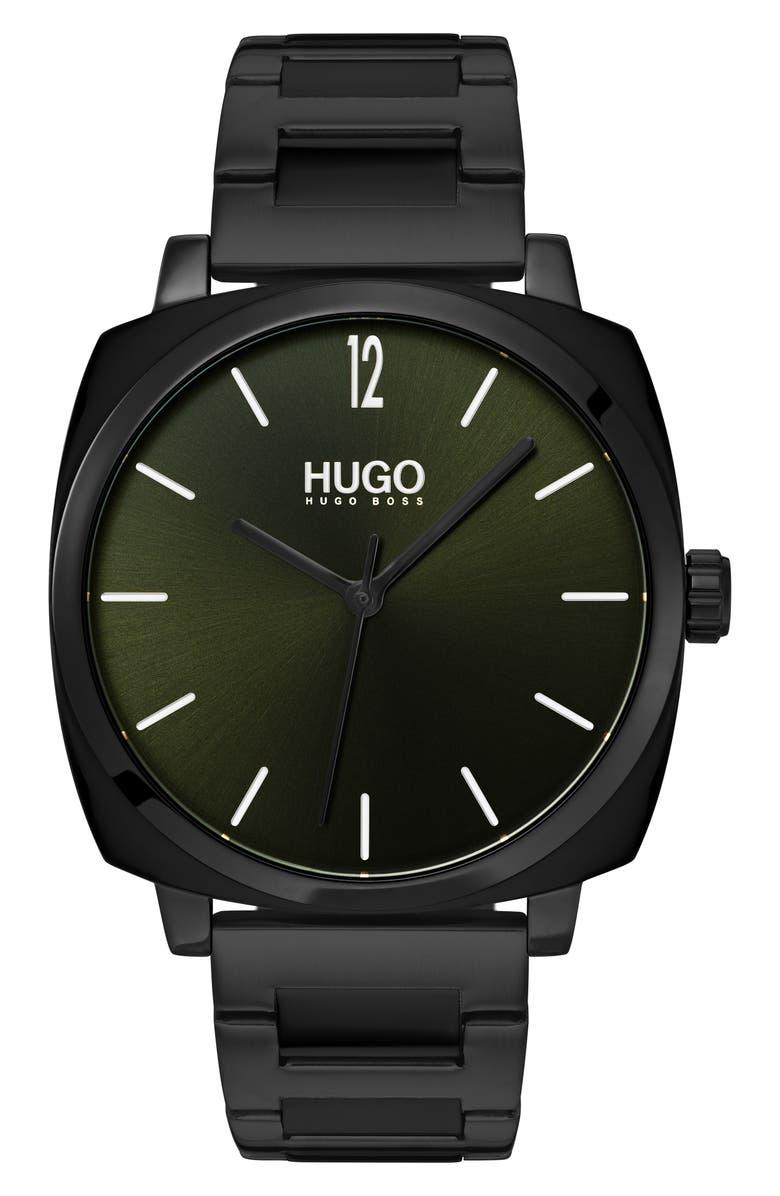 HUGO Bracelet Watch, 40mm, Main, color, GREEN/ BLACK