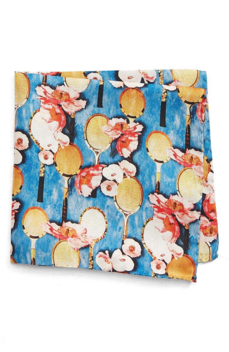 ETON Floral Tennis Silk Pocket Square, Main, color, BLUE