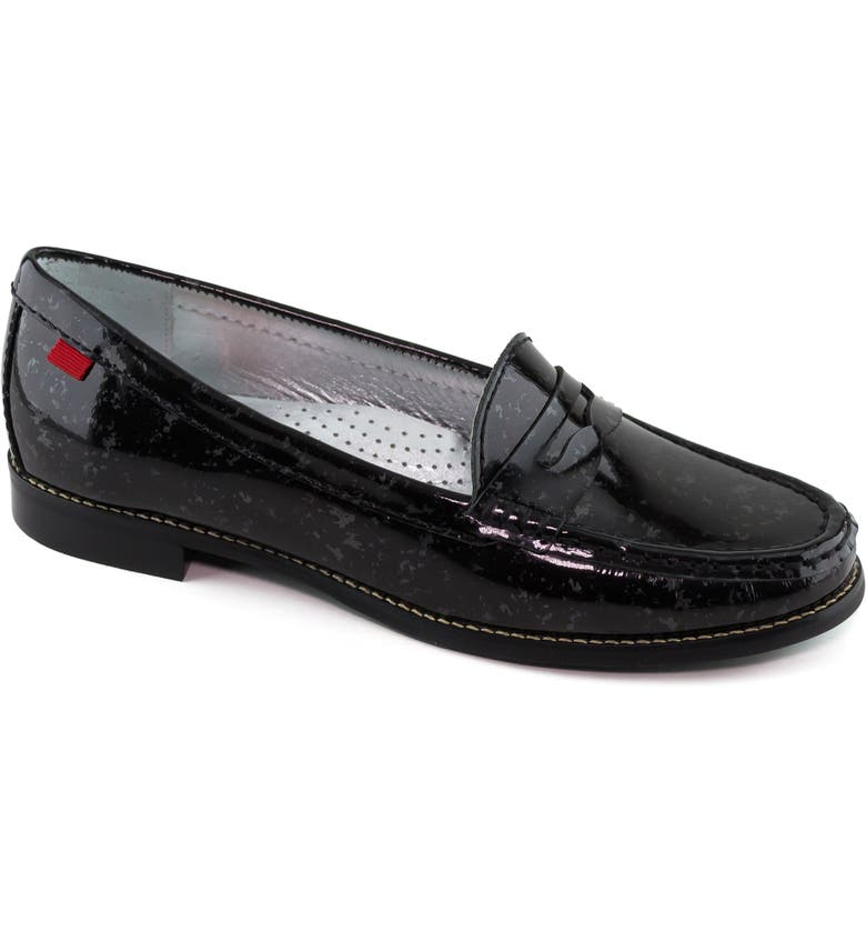 MARC JOSEPH NEW YORK East Village Penny Loafer, Main, color, MARBLE PEWTER PATENT LEATHER