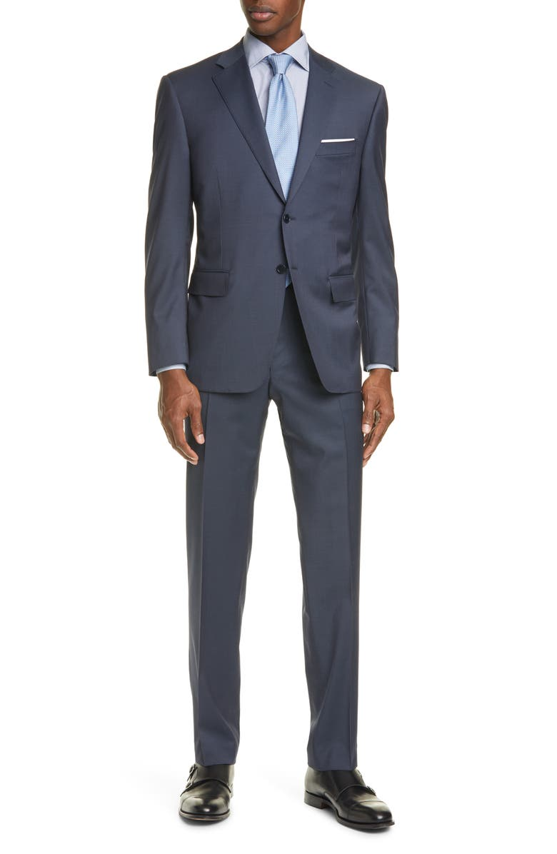 CANALI Siena Classic Fit Solid Wool Suit, Main, color, NAVY