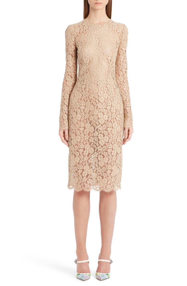 DOLCE&GABBANA Lace Sheath Dress, Main, color, 260