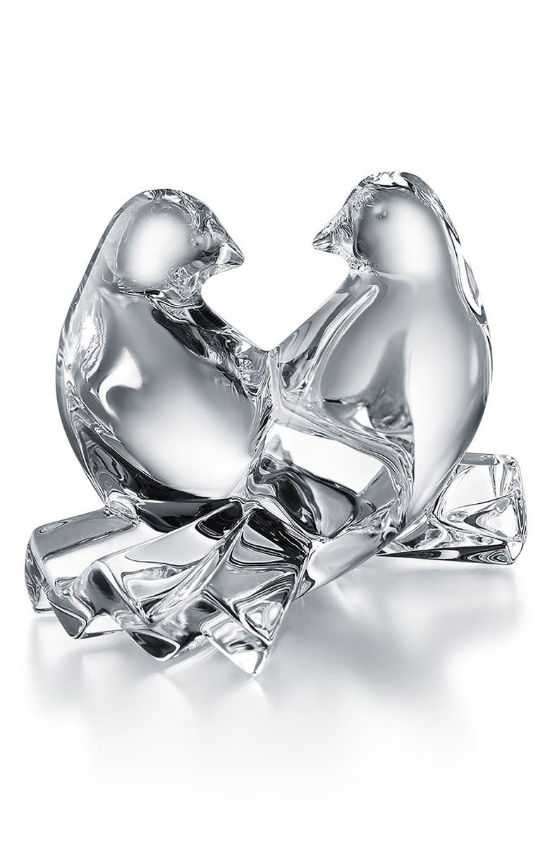 BACCARAT Lead Crystal Loving Doves, Main, color, CLEAR
