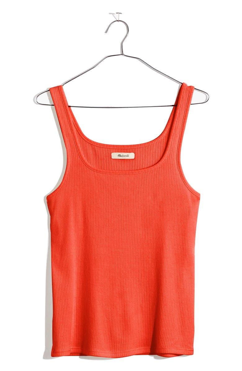 MADEWELL Ribbed Square Neck Tank, Main, color, FLAME