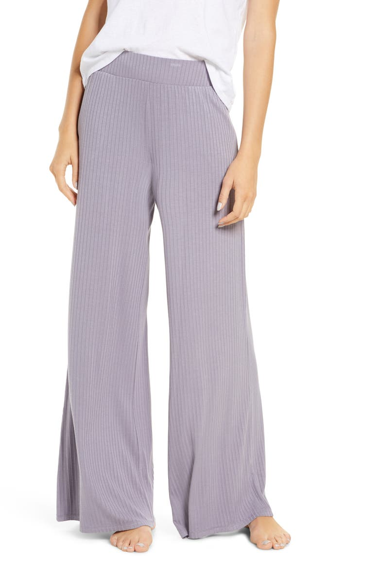 SOCIALITE Rib Wide Leg Lounge Pants, Main, color, DUSTY LILAC