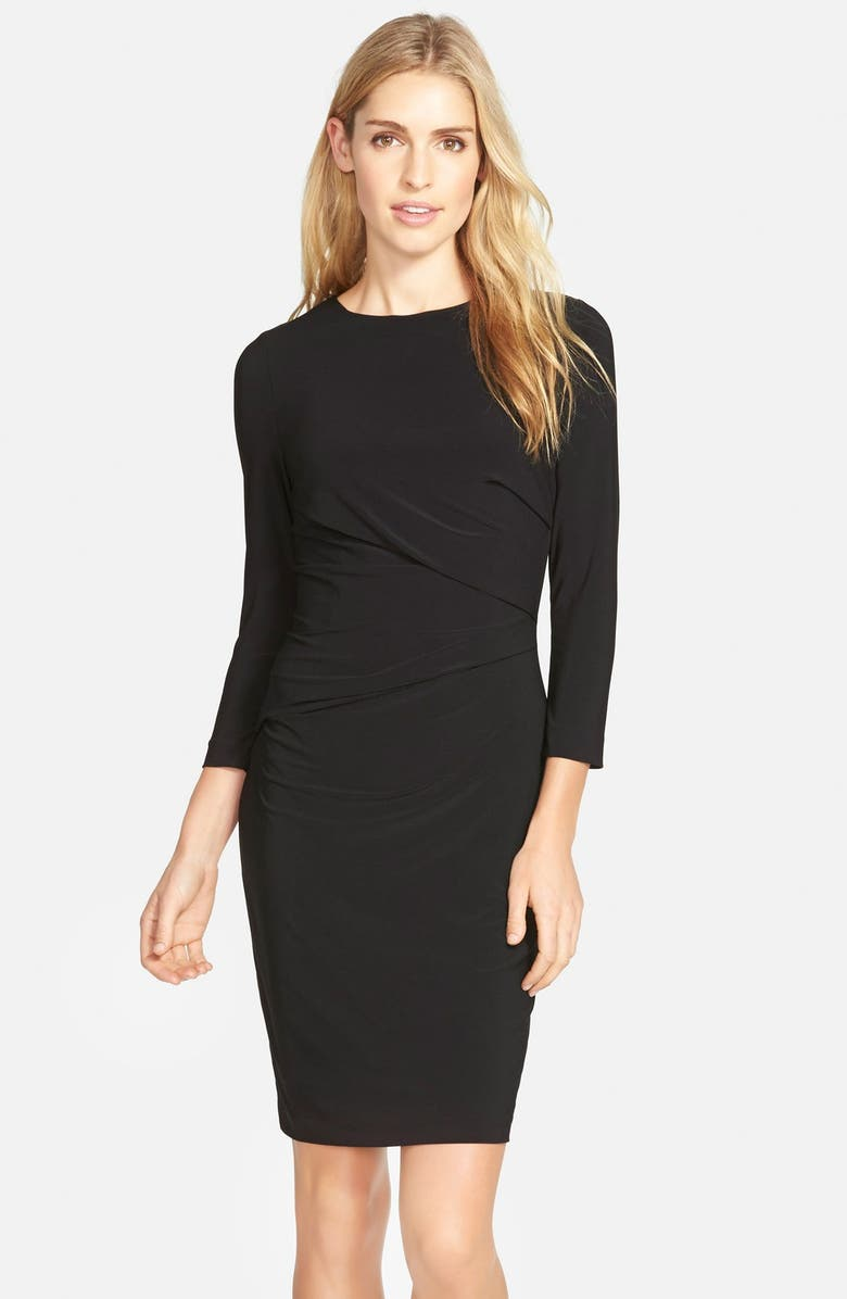 VINCE CAMUTO Side Ruched Jersey Body-Con Dress, Main, color, 001