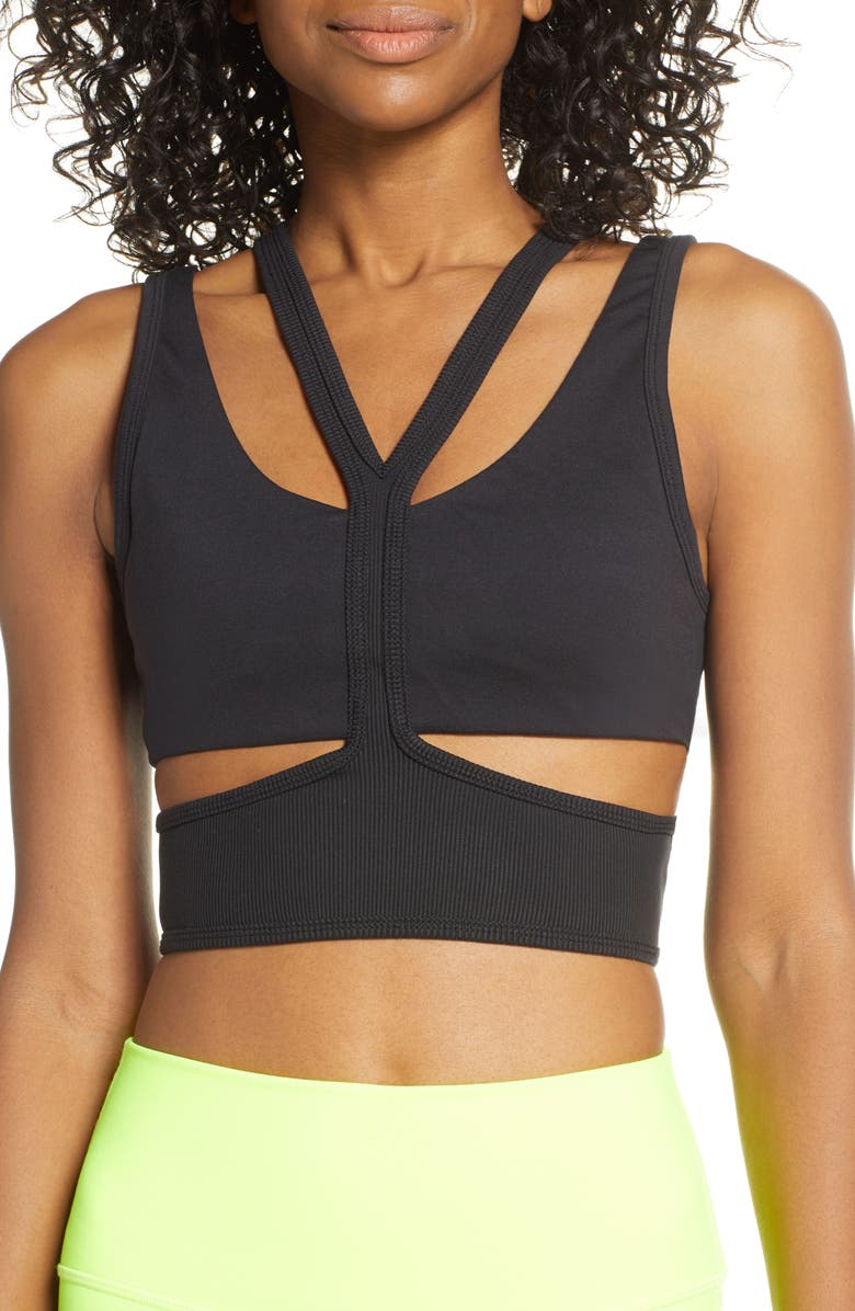 ALO Trackie Yoga Bra, Main, color, BLACK